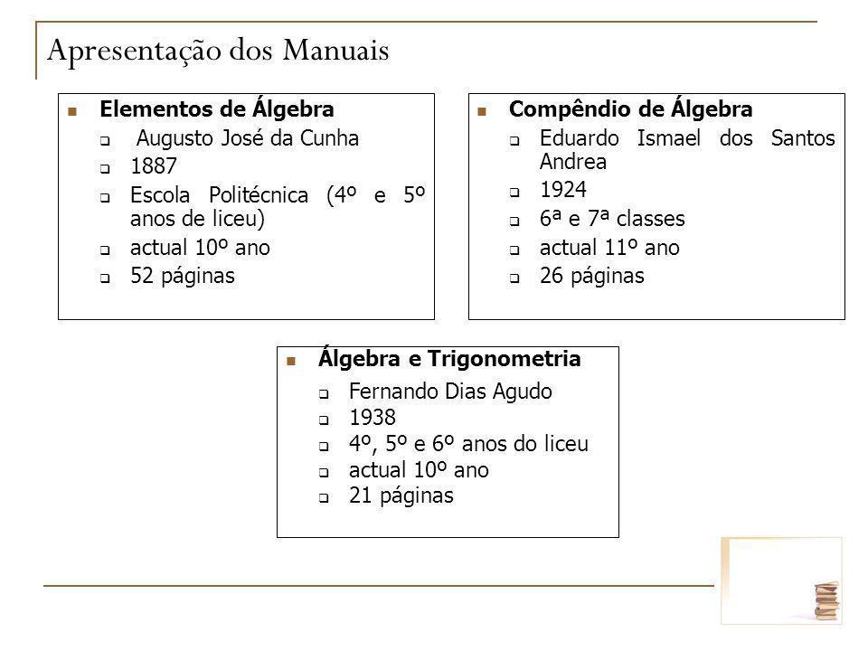 Elementos de Álgebra Augusto José da Cunha 1887 Escola Politécnica (4º e 5º anos de liceu) actual 10º ano 52 páginas Álgebra e Trigonometria Fernando