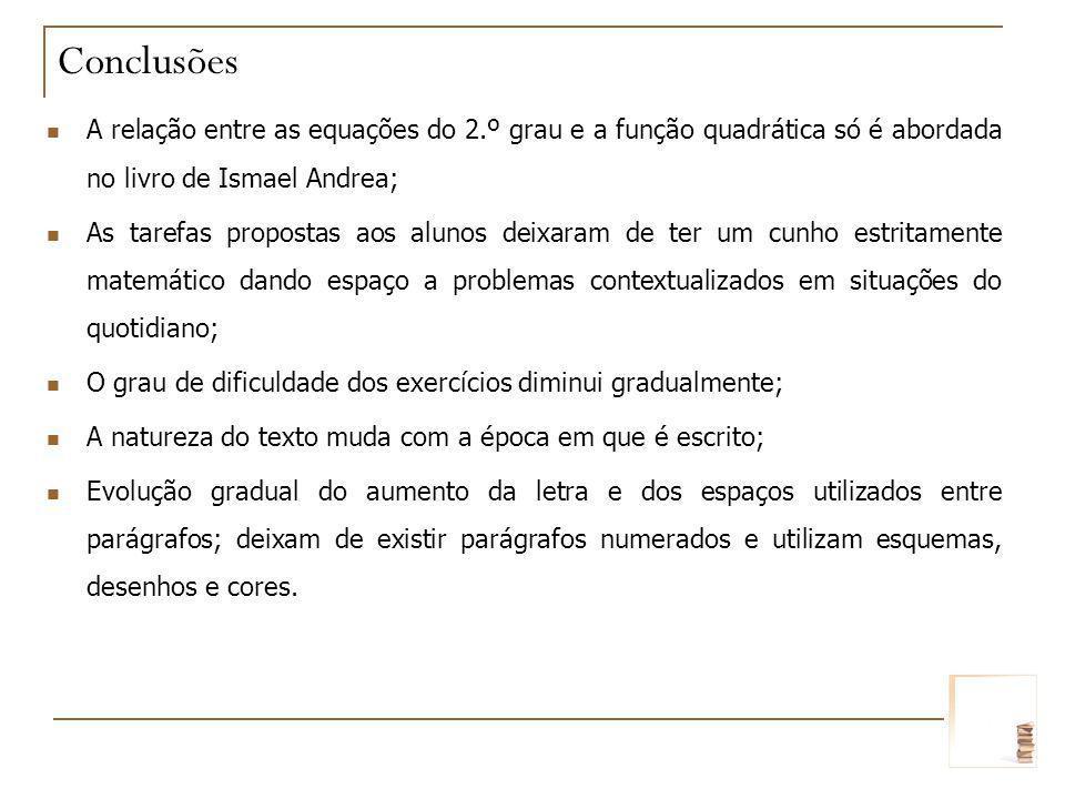 A relação entre as equações do 2.º grau e a função quadrática só é abordada no livro de Ismael Andrea; As tarefas propostas aos alunos deixaram de ter