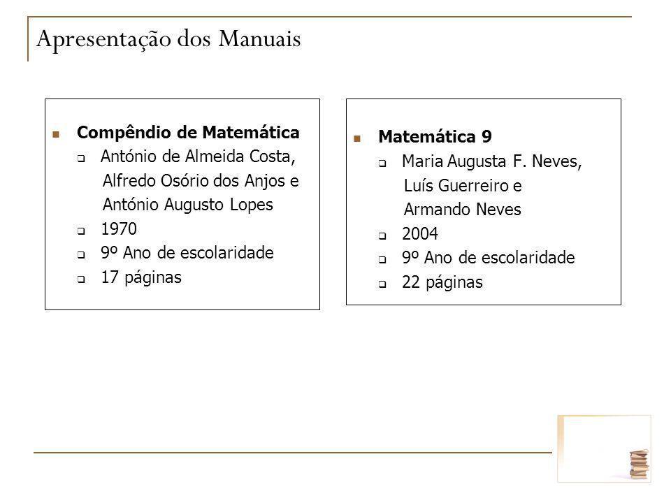 Matemática 9 Maria Augusta F. Neves, Luís Guerreiro e Armando Neves 2004 9º Ano de escolaridade 22 páginas Compêndio de Matemática António de Almeida