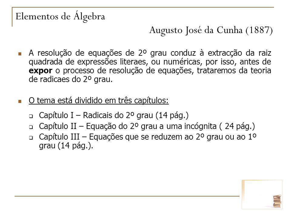 A resolução de equações de 2º grau conduz à extracção da raiz quadrada de expressões literaes, ou numéricas, por isso, antes de expor o processo de re