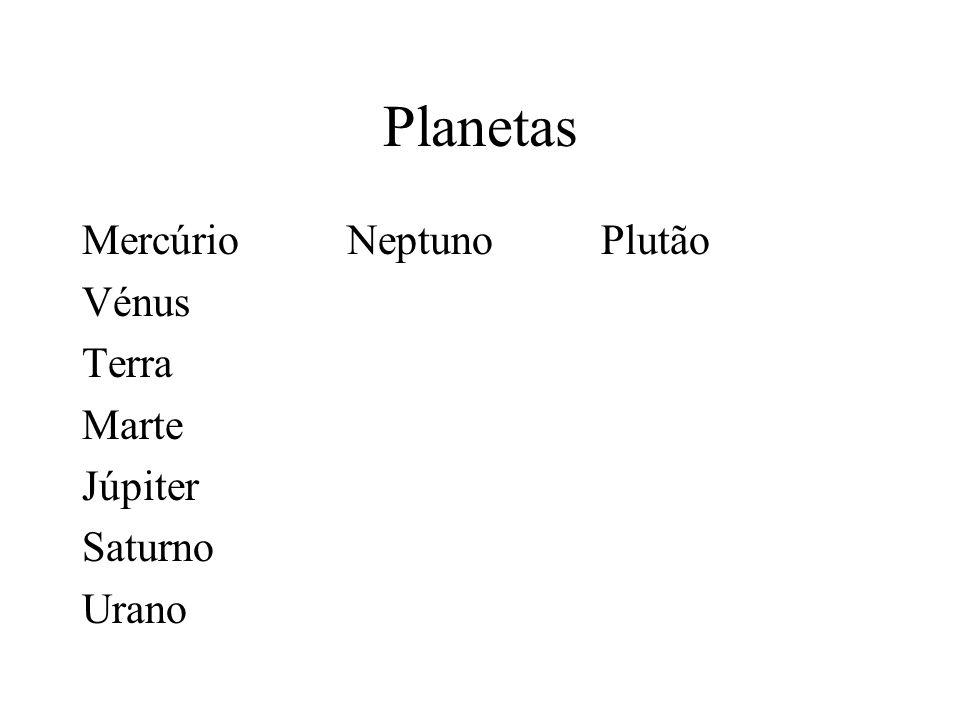 Planetas Mercúrio Neptuno Plutão Vénus Terra Marte Júpiter Saturno Urano