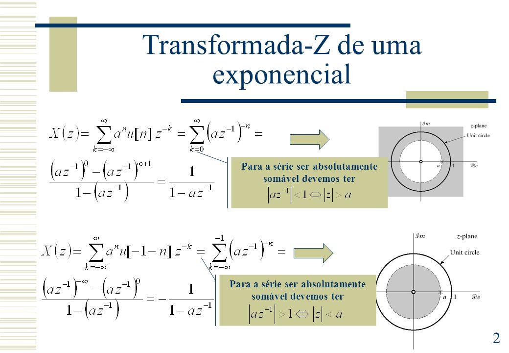 3 Região de Convergência (ROC) Region of Convergence (ROC) A cinzento Zona para a qual a série converge Corresponde sempre a um disco (sem as fronteiras) Quando contém o circulo unitário existe transformada de Fourier Sequência direita x[n]=0, n<n0 Sequência esquerda x[n]=0, n>n0 Sequência bilateral É a região de convergência de uma série de potências
