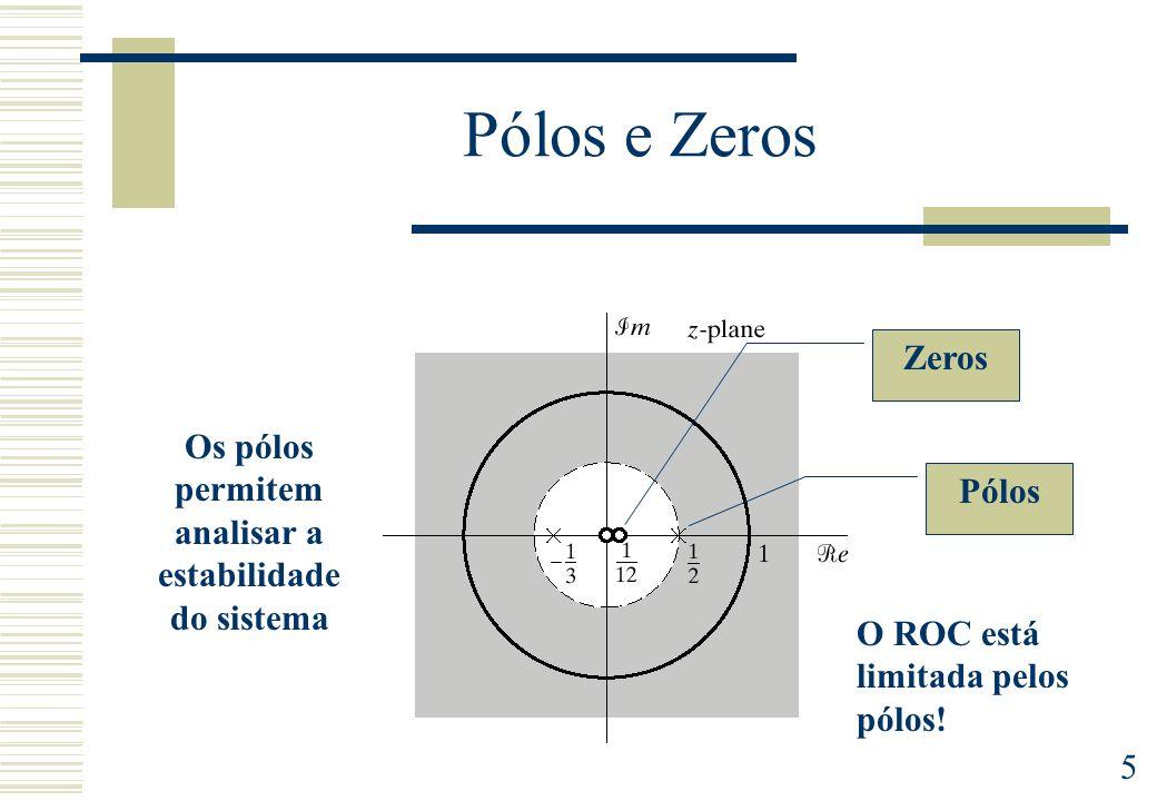 5 Pólos e Zeros Zeros Pólos O ROC está limitada pelos pólos! Os pólos permitem analisar a estabilidade do sistema