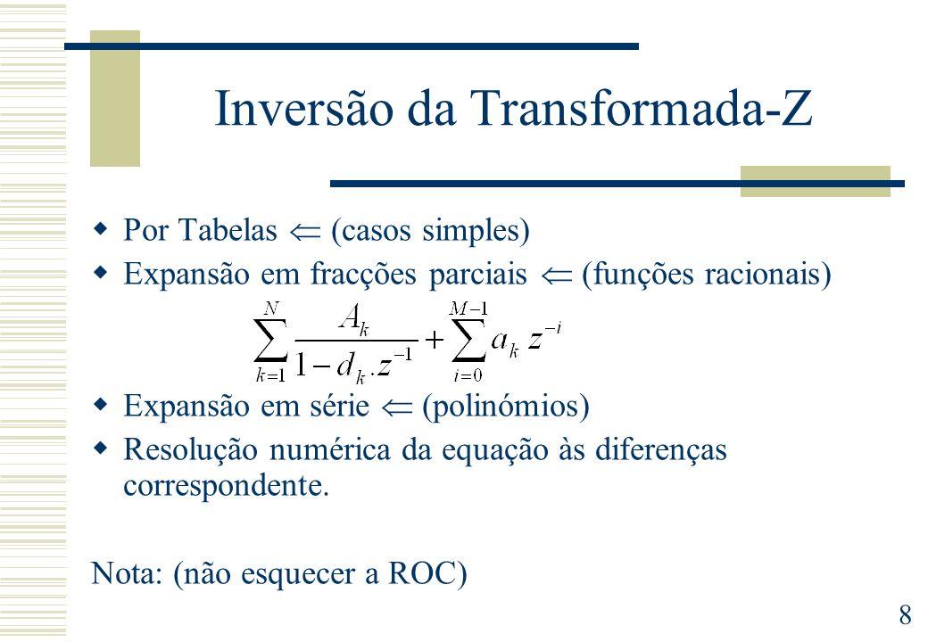 9 Propriedades da Transformada-Z Diferenciação de X(z) Deslocação no tempo Inversão no tempo Convolução no tempo Multiplicação por exponencial Linearidade Valor inicial Conjugação