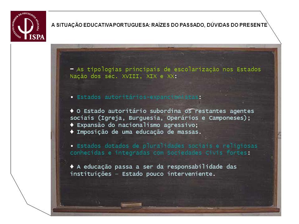 A SITUAÇÃO EDUCATIVA PORTUGUESA: RAÍZES DO PASSADO, DÚVIDAS DO PRESENTE As tipologias principais de escolarização nos Estados Nação dos séc. XVIII, XI