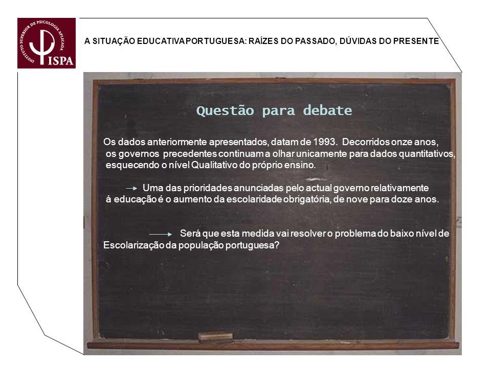 A SITUAÇÃO EDUCATIVA PORTUGUESA: RAÍZES DO PASSADO, DÚVIDAS DO PRESENTE Questão para debate Os dados anteriormente apresentados, datam de 1993. Decorr