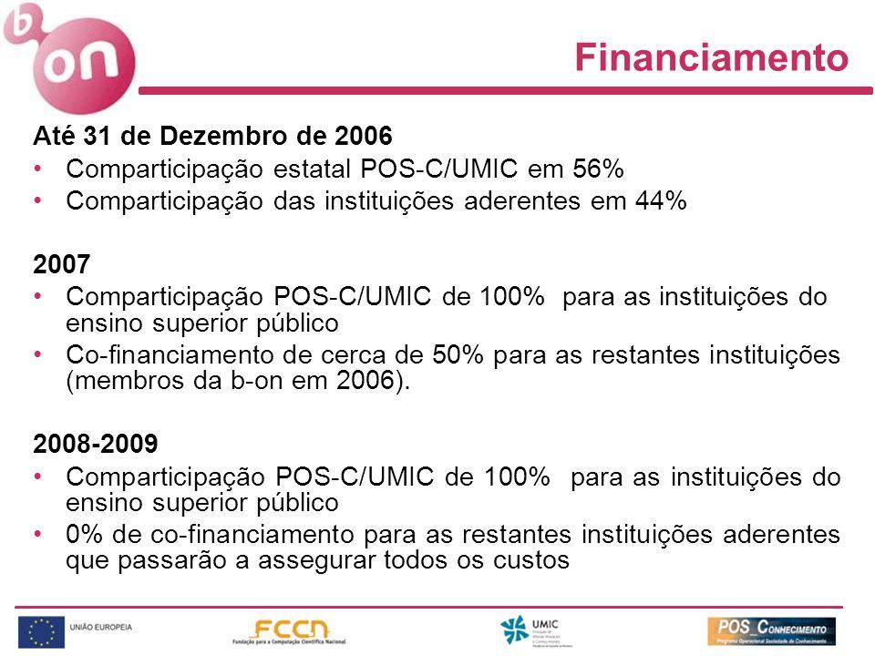 Financiamento Até 31 de Dezembro de 2006 Comparticipação estatal POS-C/UMIC em 56% Comparticipação das instituições aderentes em 44% 2007 Comparticipa