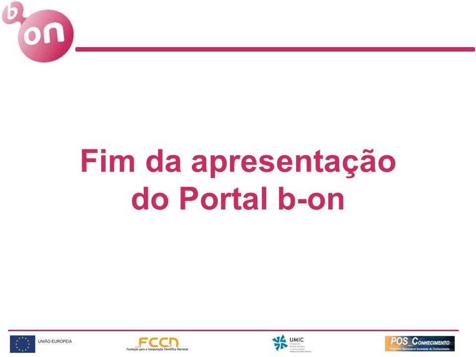 Fim da apresentação do Portal b-on