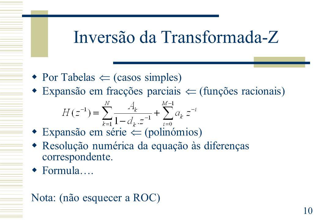 10 Inversão da Transformada-Z Por Tabelas (casos simples) Expansão em fracções parciais (funções racionais) Expansão em série (polinómios) Resolução n
