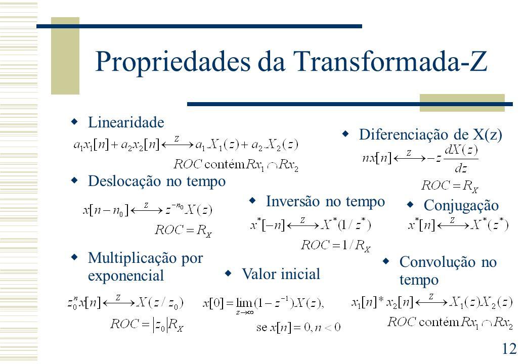 12 Propriedades da Transformada-Z Diferenciação de X(z) Deslocação no tempo Inversão no tempo Convolução no tempo Multiplicação por exponencial Linear
