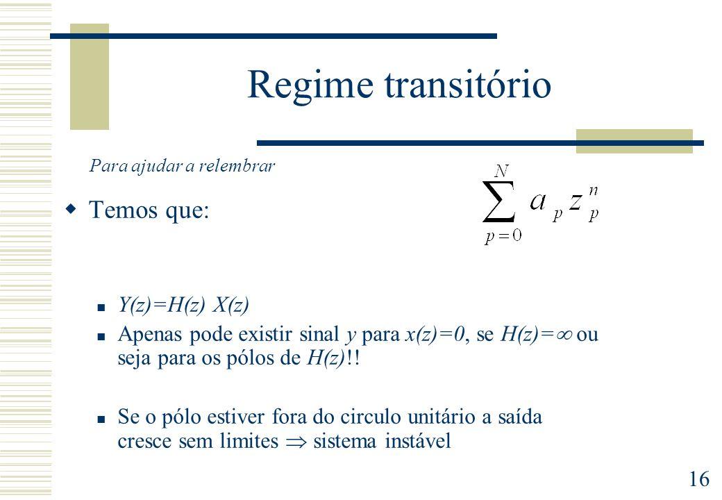 16 Regime transitório Temos que: Y(z)=H(z) X(z) Apenas pode existir sinal y para x(z)=0, se H(z)= ou seja para os pólos de H(z)!! Se o pólo estiver fo