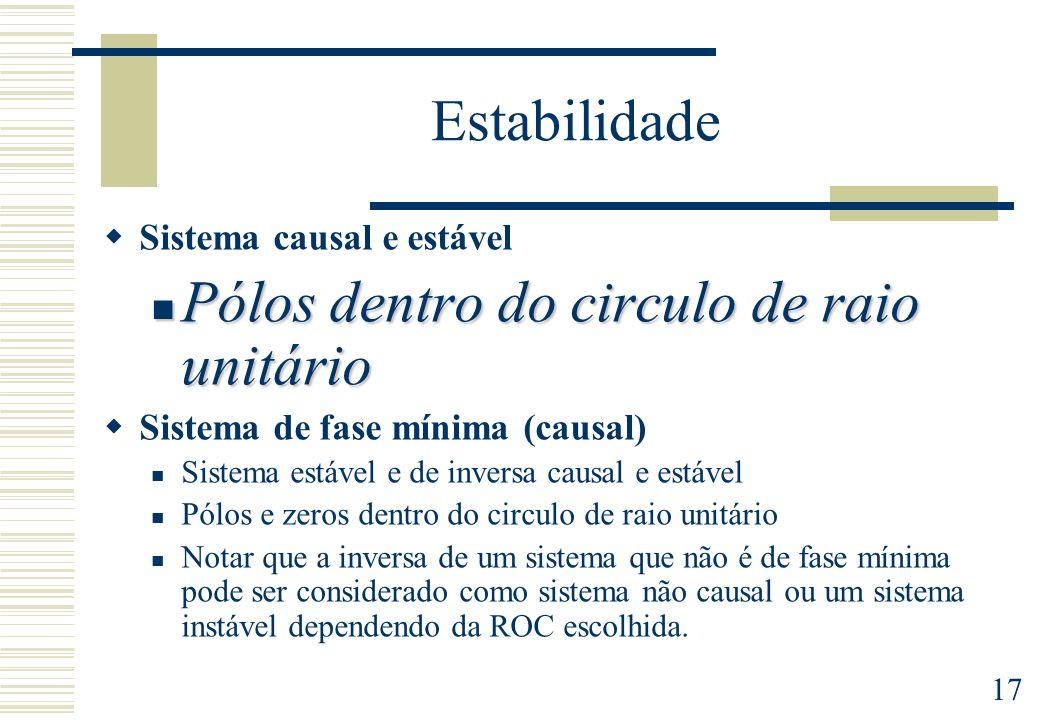 17 Estabilidade Sistema causal e estável Pólos dentro do circulo de raio unitário Pólos dentro do circulo de raio unitário Sistema de fase mínima (cau