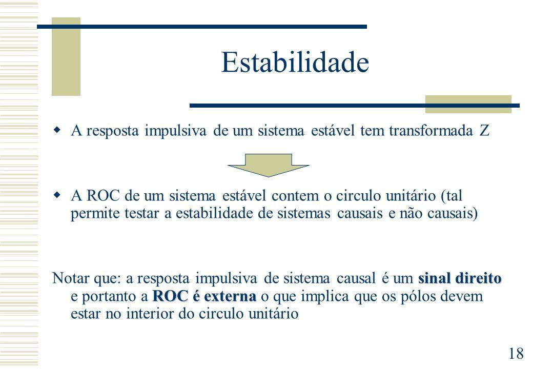18 Estabilidade A resposta impulsiva de um sistema estável tem transformada Z A ROC de um sistema estável contem o circulo unitário (tal permite testa