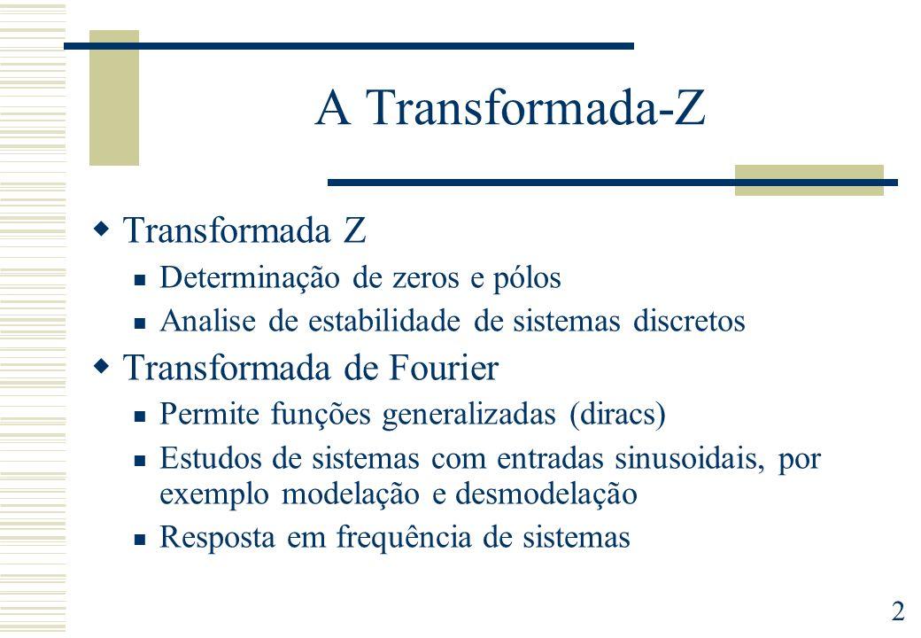 2 A Transformada-Z Transformada Z Determinação de zeros e pólos Analise de estabilidade de sistemas discretos Transformada de Fourier Permite funções