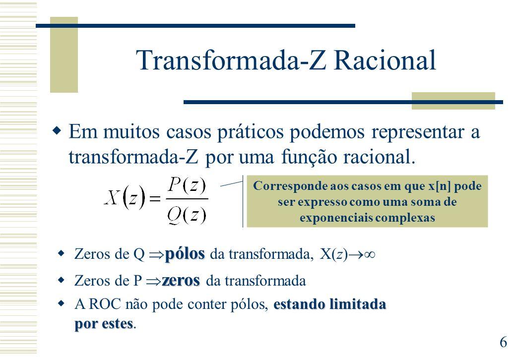 6 Transformada-Z Racional Em muitos casos práticos podemos representar a transformada-Z por uma função racional. pólos Zeros de Q pólos da transformad
