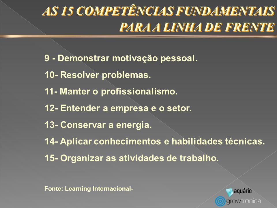 AS 15 COMPETÊNCIAS FUNDAMENTAIS PARA A LINHA DE FRENTE AS 15 COMPETÊNCIAS FUNDAMENTAIS PARA A LINHA DE FRENTE 1 - Desenvolver a confiança e fidelidade