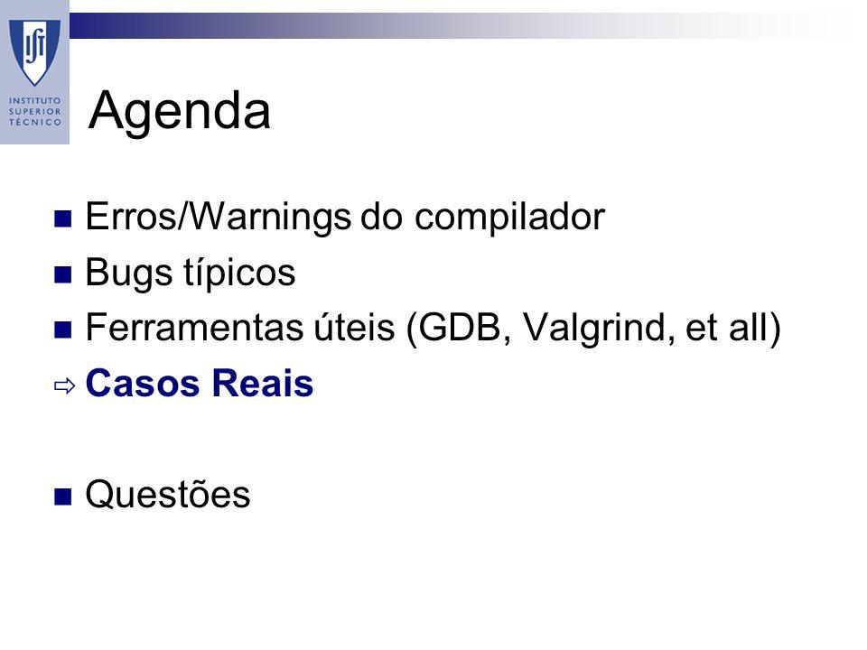 Agenda Erros/Warnings do compilador Bugs típicos Ferramentas úteis (GDB, Valgrind, et all) Casos Reais Questões