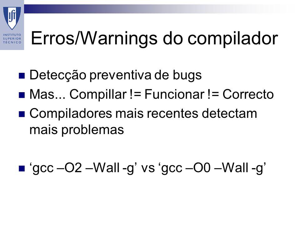 Erros/Warnings do compilador Detecção preventiva de bugs Mas...