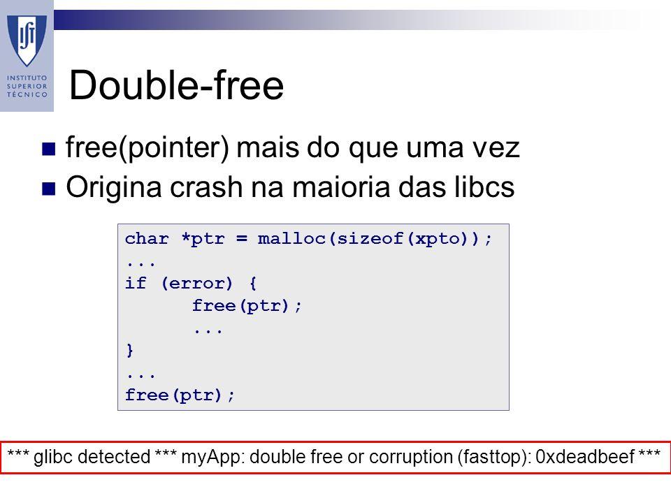 Double-free free(pointer) mais do que uma vez Origina crash na maioria das libcs char *ptr = malloc(sizeof(xpto));...