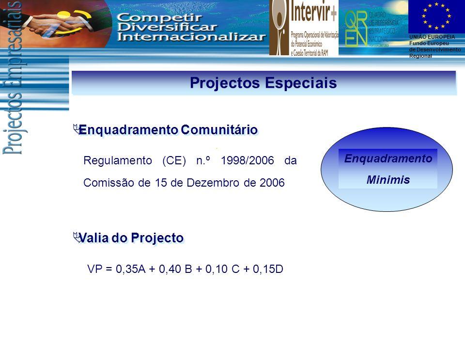 UNIÃO EUROPEIA Fundo Europeu de Desenvolvimento Regional Enquadramento Minimis Projectos Especiais Enquadramento Comunitário Regulamento (CE) n.º 1998
