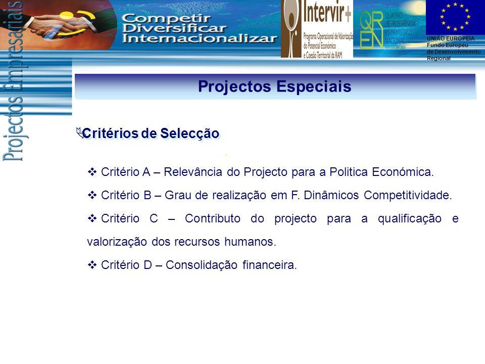 UNIÃO EUROPEIA Fundo Europeu de Desenvolvimento Regional Critérios de Selecção Projectos Especiais Critério A – Relevância do Projecto para a Politica