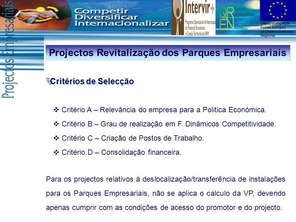 UNIÃO EUROPEIA Fundo Europeu de Desenvolvimento Regional Projectos Revitalização dos Parques Empresariais Critérios de Selecção Critério A – Relevânci