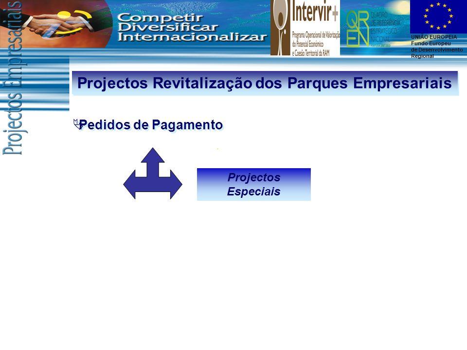 UNIÃO EUROPEIA Fundo Europeu de Desenvolvimento Regional Projectos Revitalização dos Parques Empresariais Pedidos de Pagamento Projectos Especiais