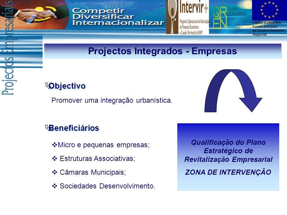 UNIÃO EUROPEIA Fundo Europeu de Desenvolvimento Regional Projectos Integrados - Empresas Promover uma integração urbanística. Objectivo Beneficiários