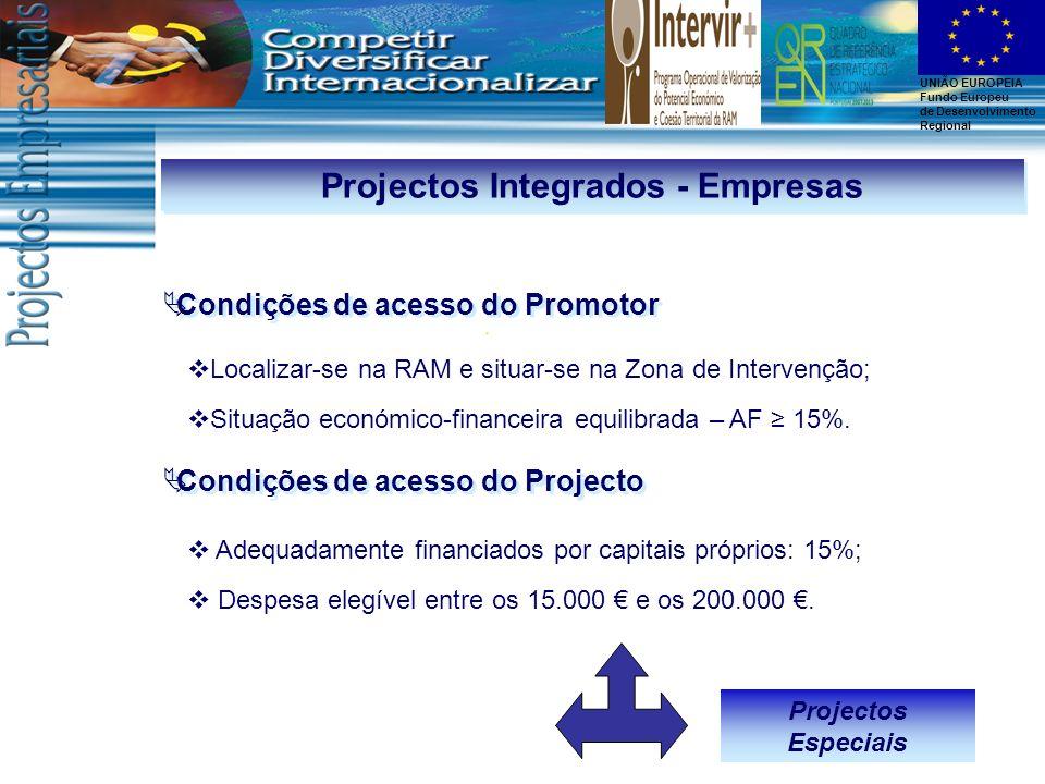 UNIÃO EUROPEIA Fundo Europeu de Desenvolvimento Regional Projectos Integrados - Empresas Localizar-se na RAM e situar-se na Zona de Intervenção; Situa