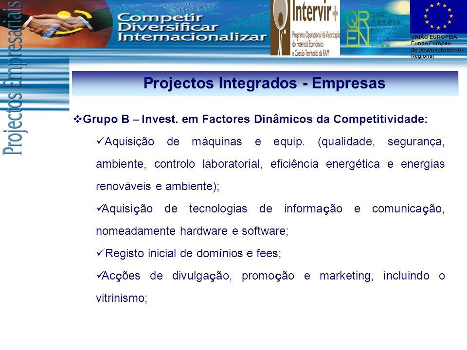 UNIÃO EUROPEIA Fundo Europeu de Desenvolvimento Regional Projectos Integrados - Empresas Grupo B – Invest. em Factores Dinâmicos da Competitividade: A