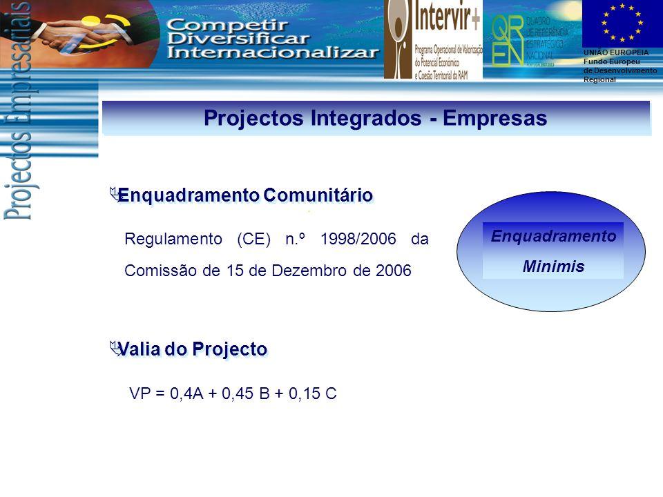 UNIÃO EUROPEIA Fundo Europeu de Desenvolvimento Regional Enquadramento Minimis Enquadramento Comunitário Regulamento (CE) n.º 1998/2006 da Comissão de