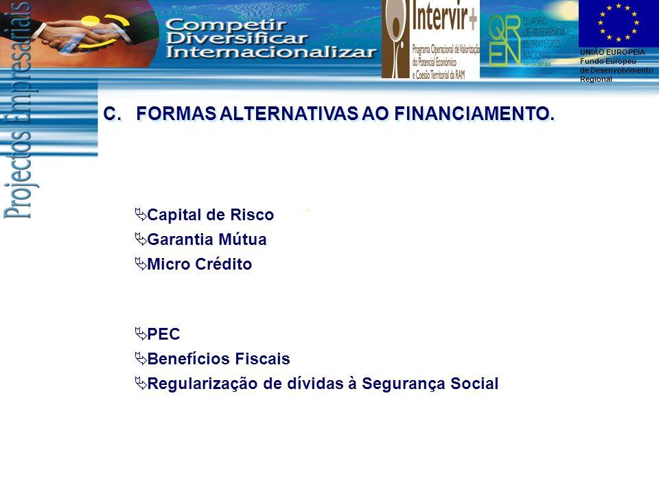 UNIÃO EUROPEIA Fundo Europeu de Desenvolvimento Regional Capital de Risco Garantia Mútua Micro Crédito C.FORMAS ALTERNATIVAS AO FINANCIAMENTO. PEC Ben