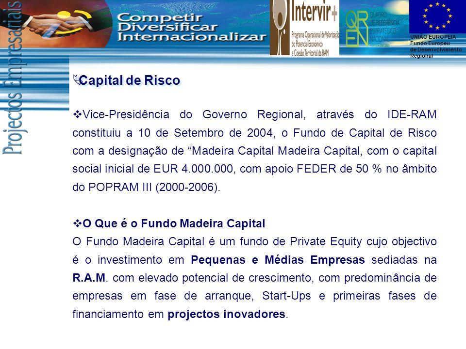 UNIÃO EUROPEIA Fundo Europeu de Desenvolvimento Regional Capital de Risco Vice-Presidência do Governo Regional, através do IDE-RAM constituiu a 10 de