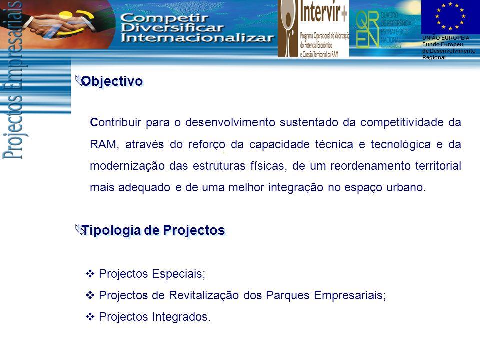 UNIÃO EUROPEIA Fundo Europeu de Desenvolvimento Regional Objectivo Projectos Especiais; Projectos de Revitalização dos Parques Empresariais; Projectos