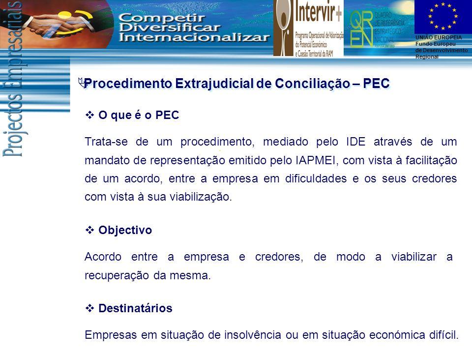 UNIÃO EUROPEIA Fundo Europeu de Desenvolvimento Regional Procedimento Extrajudicial de Conciliação – PEC O que é o PEC Trata-se de um procedimento, me
