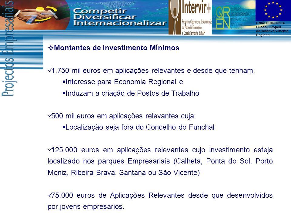 UNIÃO EUROPEIA Fundo Europeu de Desenvolvimento Regional Montantes de Investimento Mínimos 1.750 mil euros em aplicações relevantes e desde que tenham