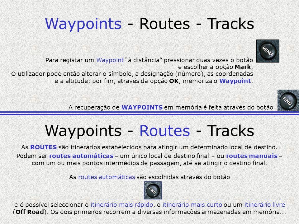 Waypoints - Routes - Tracks Para registar um Waypoint à distância pressionar duas vezes o botão e escolher a opção Mark. O utilizador pode então alter