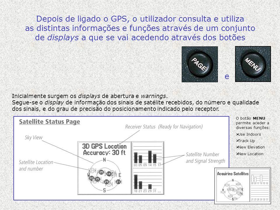 Depois de ligado o GPS, o utilizador consulta e utiliza as distintas informações e funções através de um conjunto de displays a que se vai acedendo at