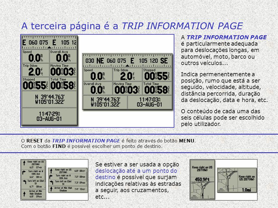 A terceira página é a TRIP INFORMATION PAGE A TRIP INFORMATION PAGE é particularmente adequada para deslocações longas, em automóvel, moto, barco ou o