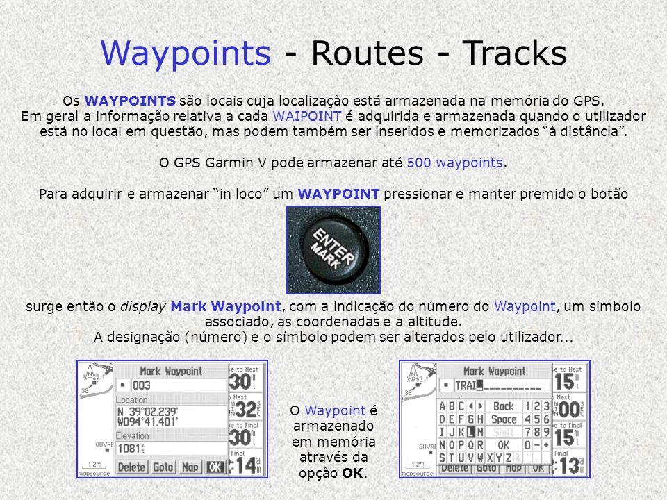 Waypoints - Routes - Tracks Os WAYPOINTS são locais cuja localização está armazenada na memória do GPS. Em geral a informação relativa a cada WAIPOINT