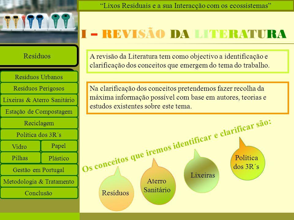 Insira o logótipo no modelo global Insira o nome do grupo de trabalho no modelo global Projectos Documentos Equipa Ligações O que há de novo Principal Estação de Compostagem Reciclagem Lixeiras & Aterro Sanitário Resíduos Perigosos Resíduos Urbanos Resíduos Política dos 3R´s Vidro Papel Plástico Pilhas Gestão em Portugal Metodologia & Tratamento Conclusão Lixos Residuais e a sua Interacção com os ecossistemas Resíduos Quaisquer substâncias ou objectos de que o detentor se desfaz ou tem intenção ou tem obrigação de se desfazer.