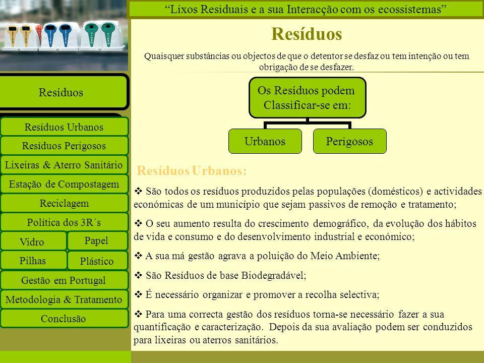 Insira o logótipo no modelo global Insira o nome do grupo de trabalho no modelo global Projectos Documentos Equipa Ligações O que há de novo Principal Estação de Compostagem Reciclagem Lixeiras & Aterro Sanitário Resíduos Perigosos Resíduos Urbanos Resíduos Política dos 3R´s Vidro Papel Plástico Pilhas Gestão em Portugal Metodologia & Tratamento Conclusão Lixos Residuais e a sua Interacção com os ecossistemas Resíduos Perigosos São todas as substâncias, materiais ou objectos obrigatórios de serem removidos por terem substâncias perigosas, que colocam em risco a saúde humana e ambiental.