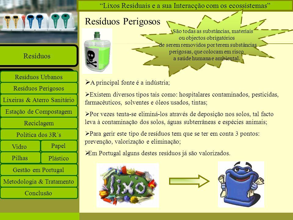 Insira o logótipo no modelo global Insira o nome do grupo de trabalho no modelo global Projectos Documentos Equipa Ligações O que há de novo Principal Estação de Compostagem Reciclagem Lixeiras & Aterro Sanitário Resíduos Perigosos Resíduos Urbanos Resíduos Política dos 3R´s Vidro Papel Plástico Pilhas Gestão em Portugal Metodologia & Tratamento Conclusão Lixos Residuais e a sua Interacção com os ecossistemas Resíduos Hospitalares Resíduos produzidos em unidades de saúde Grupo A - Contaminados Anatómicos Bacteriológicos Farmacêuticos Ortopédicos Químicos Radiológicos Grupo B - Não Contaminados Medidas a tomar: - Triagem na fonte; - Circuitos Intra hospitalares; - Armazenamento separado; - Tratamento de resíduos contaminados.