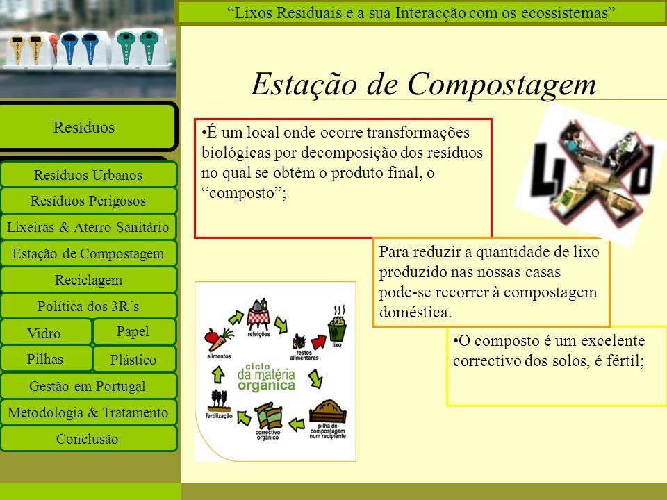 Insira o logótipo no modelo global Insira o nome do grupo de trabalho no modelo global Projectos Documentos Equipa Ligações O que há de novo Principal Estação de Compostagem Reciclagem Lixeiras & Aterro Sanitário Resíduos Perigosos Resíduos Urbanos Resíduos Política dos 3R´s Vidro Papel Plástico Pilhas Gestão em Portugal Metodologia & Tratamento Conclusão Lixos Residuais e a sua Interacção com os ecossistemas Reciclagem Fonte de valorizar os resíduos; É o processo de transformação de um material que já teve uma utilização, numa matéria-prima ou bem de consumo; Os resíduos têm que ser devidamente separados pelas suas diferentes classes; As taxas de reciclagem em Portugal continuam a ser muito baixas; Deve existir uma pré-reciclagem, ou seja, o consumidor deve escolher produtos embalados em materiais que possam ser reciclados; Como consumidores podemos adoptar algumas medidas, tais como, a utilização de embalagens de retorno e oferecer roupa que já não usamos.