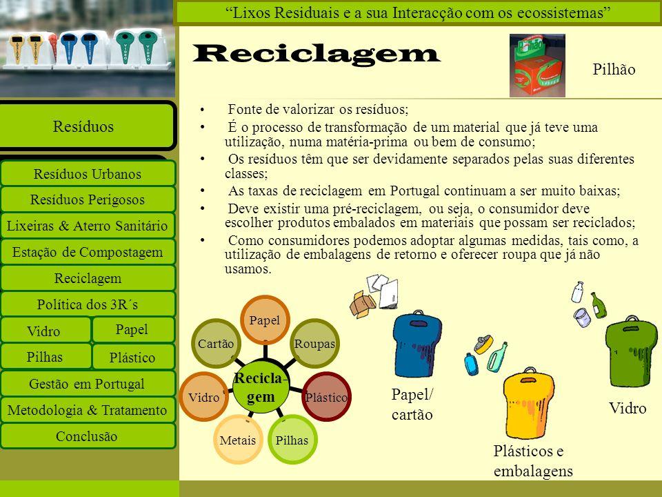 Insira o logótipo no modelo global Insira o nome do grupo de trabalho no modelo global Projectos Documentos Equipa Ligações O que há de novo Principal Política dos 3R´sPolítica dos 3R´s Estação de Compostagem Reciclagem Lixeiras & Aterro Sanitário Resíduos Perigosos Resíduos Urbanos Resíduos Política dos 3R´s Vidro Papel Plástico Pilhas Gestão em Portugal Metodologia & Tratamento Conclusão Lixos Residuais e a sua Interacção com os ecossistemas Reduzir: É a 1ª das formas de reduzir os problemas da Gestão de resíduos; Para isso tem de haver a utilização de materiais e tecnologias menos poluentes, menos dispendiosas, que sejam recicláveis e evitar consumos supérfluos.