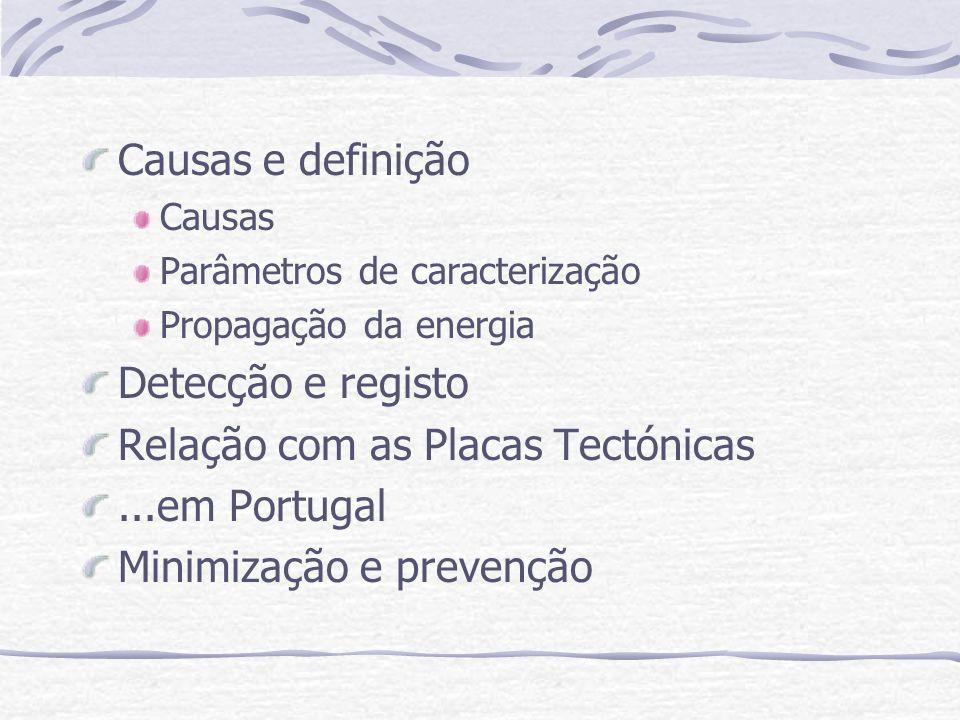 Causas e definição Causas Parâmetros de caracterização Propagação da energia Detecção e registo Relação com as Placas Tectónicas...em Portugal Minimização e prevenção