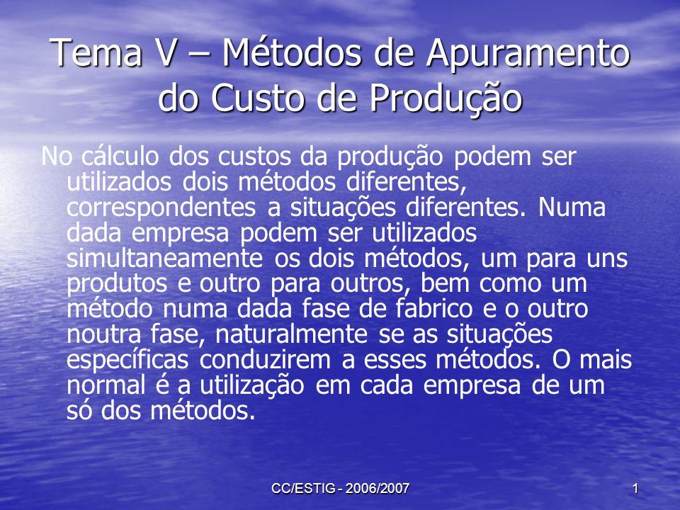 CC/ESTIG - 2006/20072 Tema V – Métodos de Apuramento do Custo de Produção O método directo, também chamado de método de custeio por ordens de fabrico ou por encomenda é utilizado nas situações em que cada produto é um caso específico diferente dos outros.