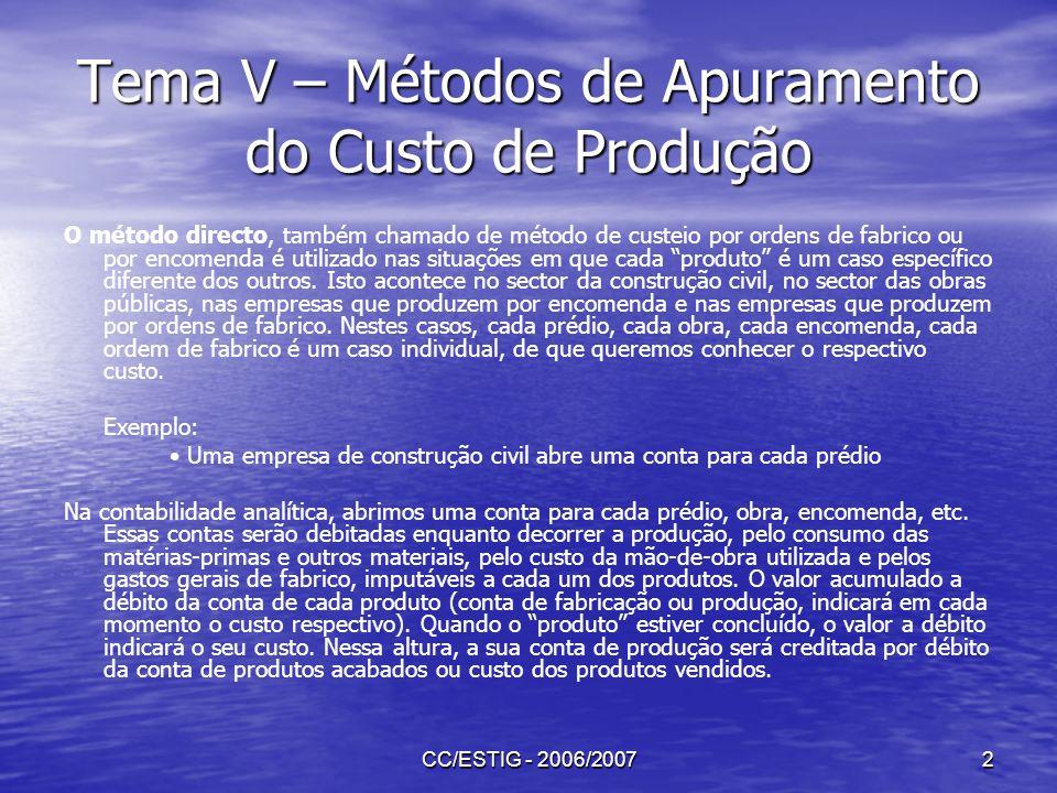 CC/ESTIG - 2006/20073 Tema V – Métodos de Apuramento do Custo de Produção O método indirecto ou de custeio por processos é utilizado nas chamadas indústrias de processo, ou seja indústrias de fabrico continuamente o mesmo produto ou produtos durante todo o ano.