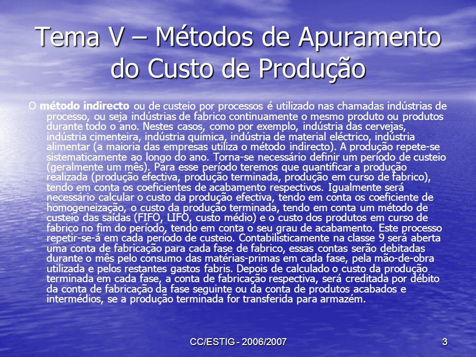 CC/ESTIG - 2006/20073 Tema V – Métodos de Apuramento do Custo de Produção O método indirecto ou de custeio por processos é utilizado nas chamadas indú