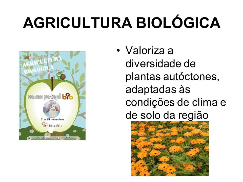 AGRICULTURA BIOLÓGICA Valoriza a diversidade de plantas autóctones, adaptadas às condições de clima e de solo da região